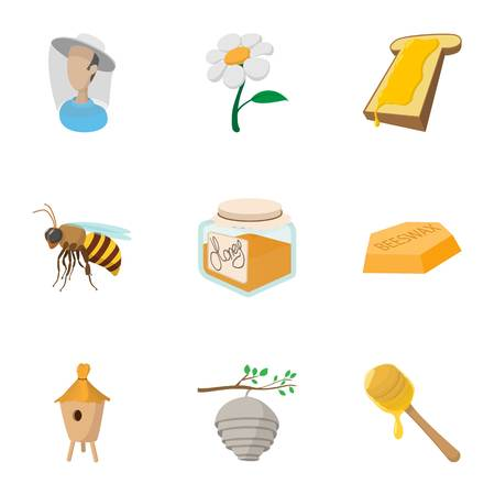 Beekeeping icons set, cartoon style