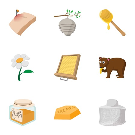 Beekeeping farm icons set, cartoon style