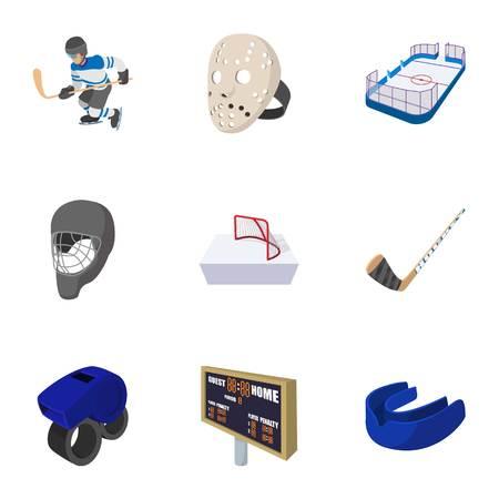 Hockey icons set, cartoon style Illustration