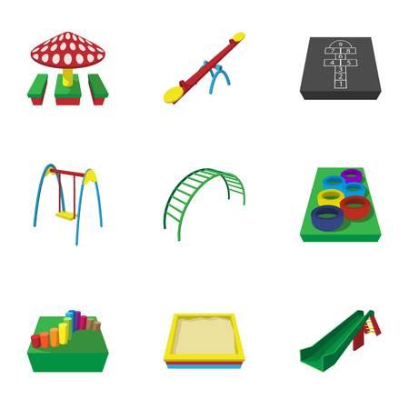 kiddies: Fun in yard icons set, cartoon style Illustration