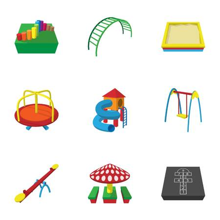 Play in yard icons set, cartoon style