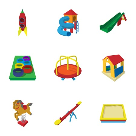 kiddies: Backyard entertainment icons set, cartoon style