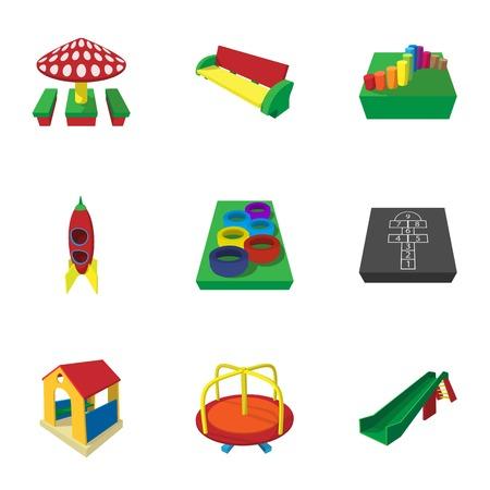 kiddies: Park in yard icons set, cartoon style