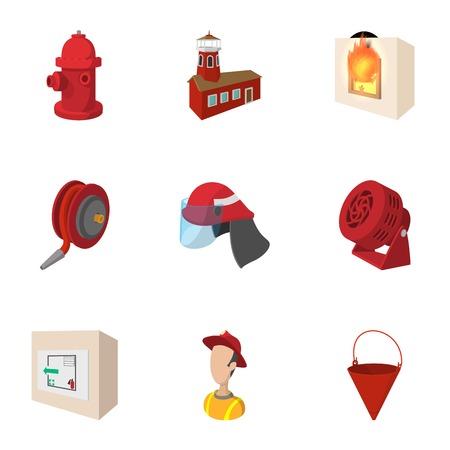 salidas de emergencia: Burning icons set, cartoon style