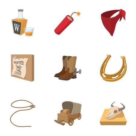 dynamite: Cowboys of Wild West icons set, cartoon style Illustration