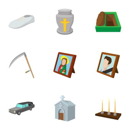 fatality: Death of person icons set, cartoon style