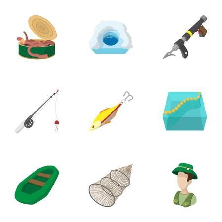 angling: Angling icons set, cartoon style