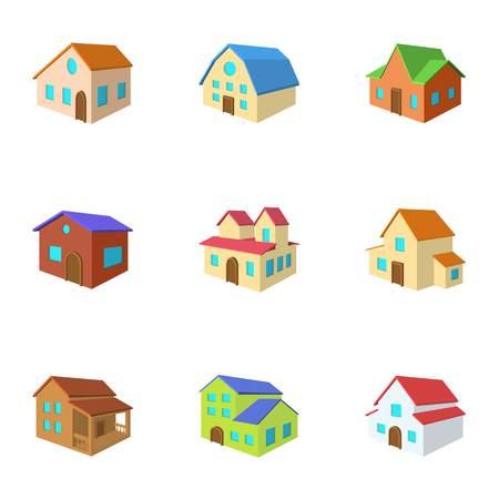 dwelling: Dwelling icons set, cartoon style