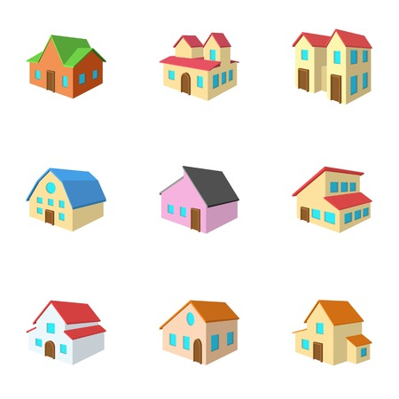 housing style: Housing icons set, cartoon style