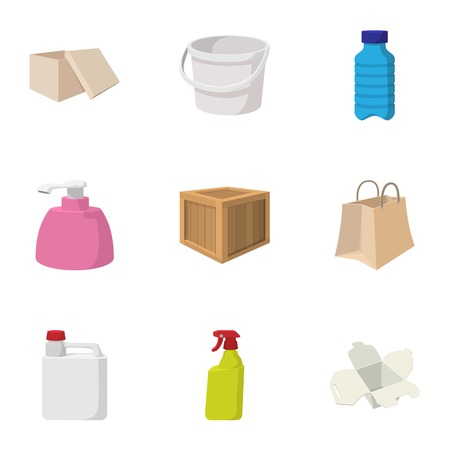 Container icons set, cartoon style