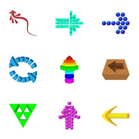 Arrow icons set, cartoon style Illustration