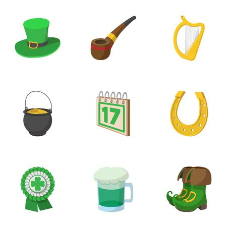 17 march beer festival icons set, cartoon style