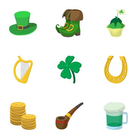 March 17 Saint Patrick day icons set