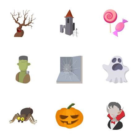 All hallows evening icons set, cartoon style