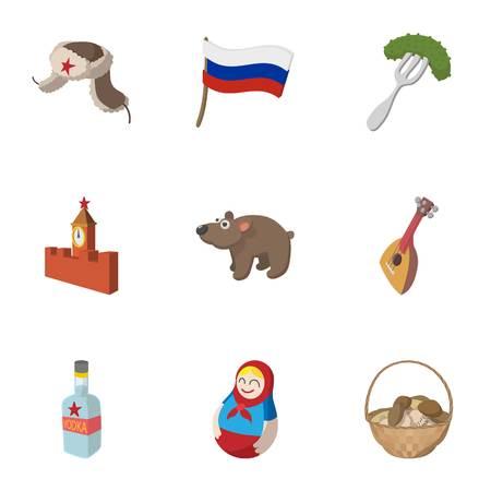 muñecas rusas: Rusia iconos conjunto, estilo de dibujos animados
