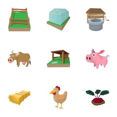 Farmyard icons set, cartoon style Stock Photo