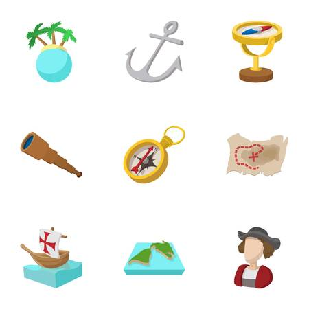 Geography icons set, cartoon style