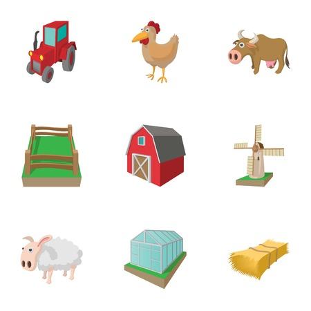 barn wood: Farmhouse icons set, cartoon style