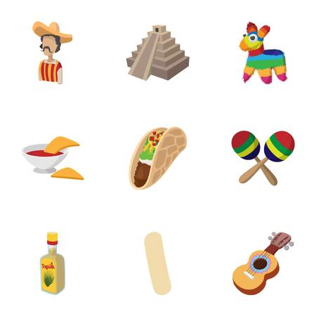 Tourism in Mexico icons set, cartoon style