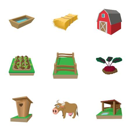 paddock: Farm icons set, cartoon style