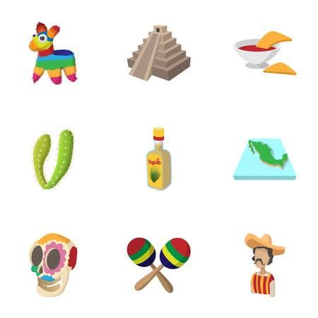 Mexico icons set, cartoon style