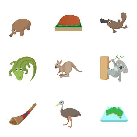 Attractions of Australia icons set, cartoon style Illustration