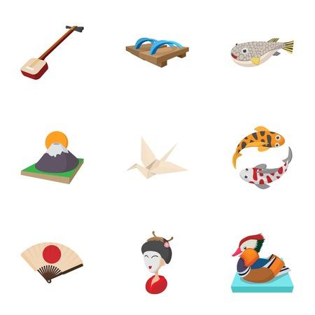 Japan icons set, cartoon style Illustration