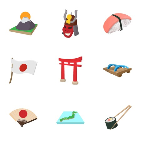 Tourism in Japan icons set, cartoon style