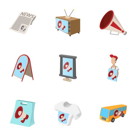 contextual: Contextual advertising icons set, cartoon style