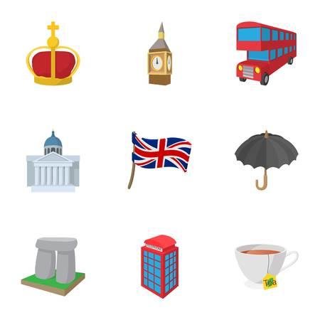 Country United Kingdom icons set, cartoon style Illustration
