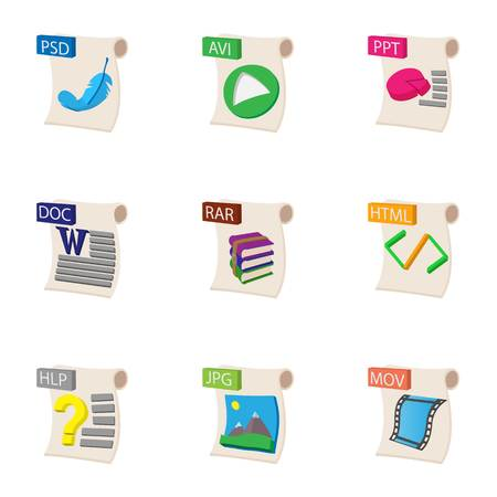 psd: Documents icons set, cartoon style Illustration