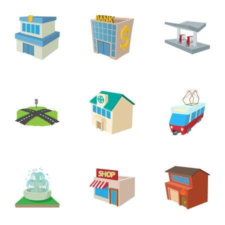 public building: Public building icons set, cartoon style