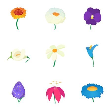 Different flowers icons set, cartoon style Illustration