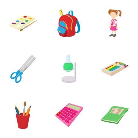 schoolhouse: Schoolhouse icons set, cartoon style