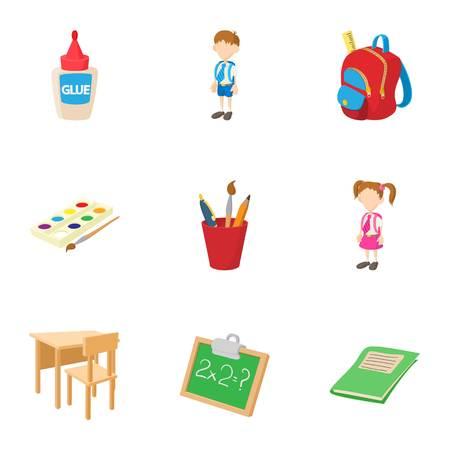 Children education icons set, cartoon style