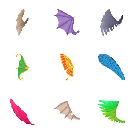Wings of bird icons set, cartoon style Illustration