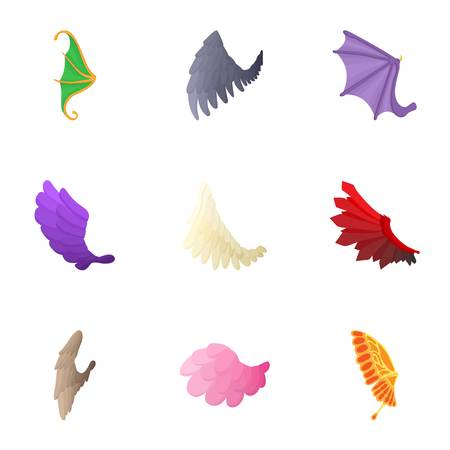 Types of wings icons set, cartoon style