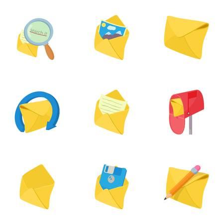 Letter icons set, cartoon style Illustration