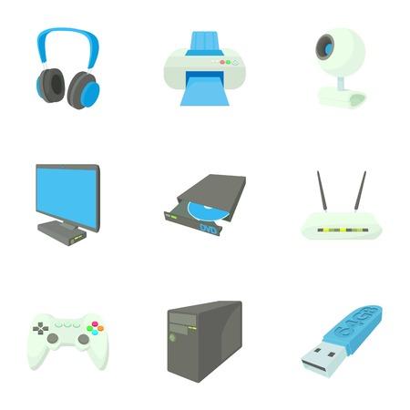 computer repair: Computer repair icons set, cartoon style Illustration
