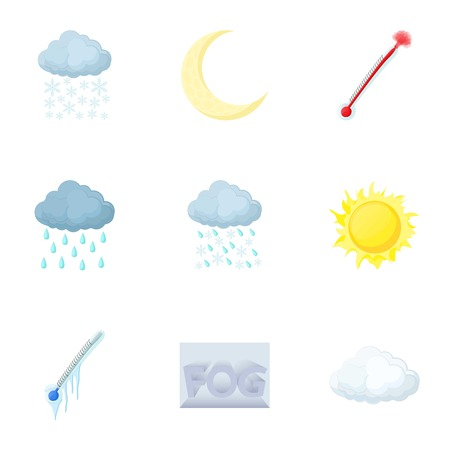 Kinds of weather icons set, cartoon style
