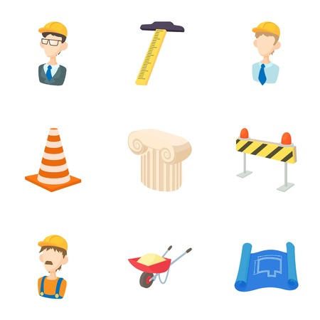 superintendent: Construction tools icons set, cartoon style