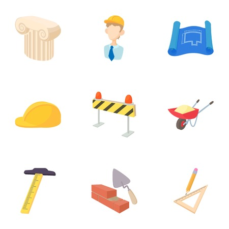 plasterer: Repair icons set, cartoon style Illustration