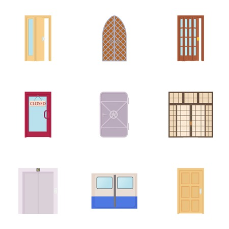 double entry: Security door icons set, cartoon style Illustration