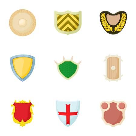 Protective shield icons set, cartoon style Illustration