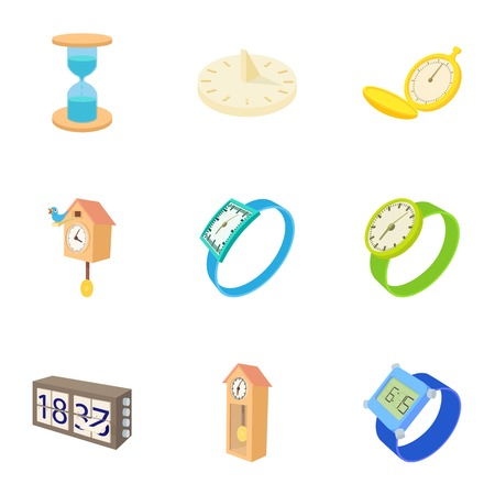Electronic watch icons set, cartoon style Illustration
