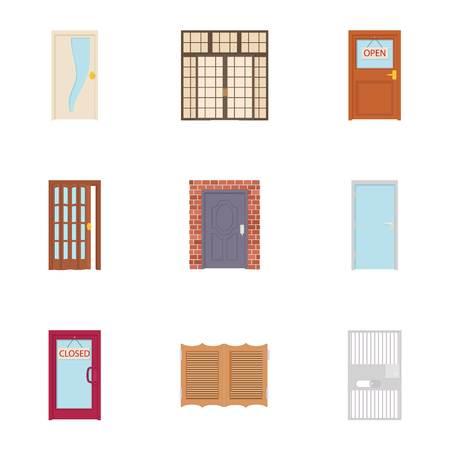 double entry: Door icons set, cartoon style