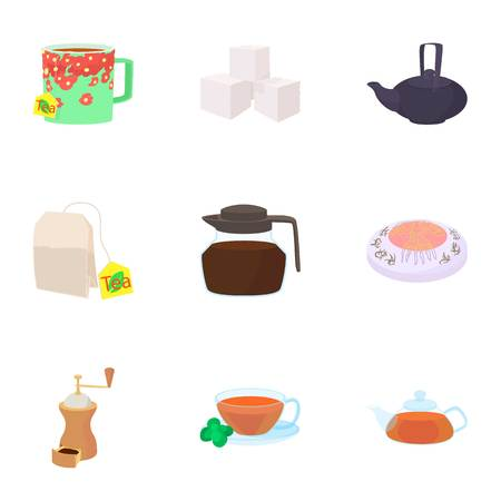 Types of drinks icons set, cartoon style