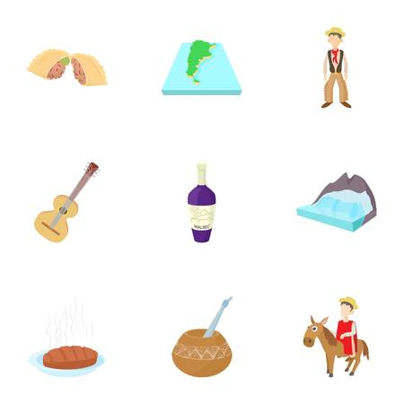 Attractions of Argentina icons set, cartoon style Illustration
