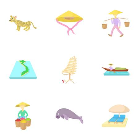 Tourism in Vietnam icons set, cartoon style