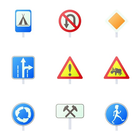 Traffic sign icons set, cartoon style